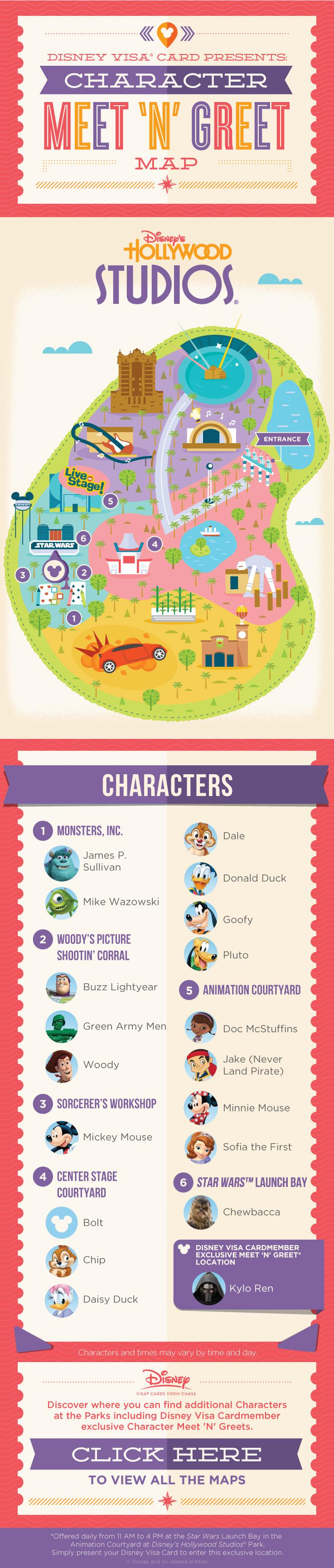 Disney Hollywood Studios Character Experience Map