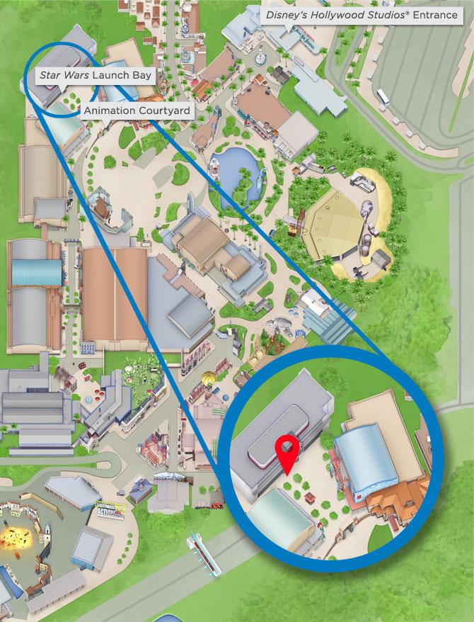 Disney Hollywood Studios Map with directions to Star Wars Launch Bay and Animation Courtyard
