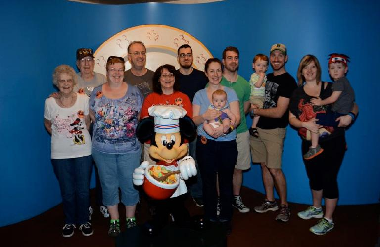 Large Family with Mickey Mouse as a chef