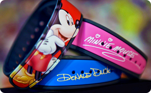Stack of Mickey Mouse, Minnie Mouse and Donald Duck Magicbands