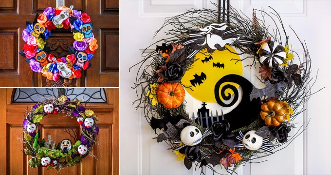 DIY Halloween Wreaths Snow White Coco Nightmare Before Christmas