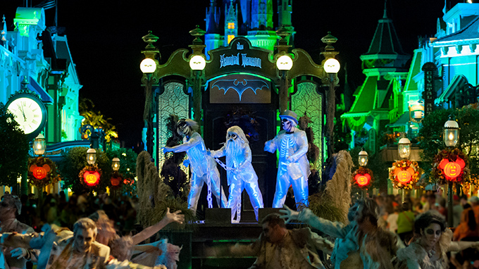 Mickey's Not-So-Scary Halloween Party skeleton cast members dancing