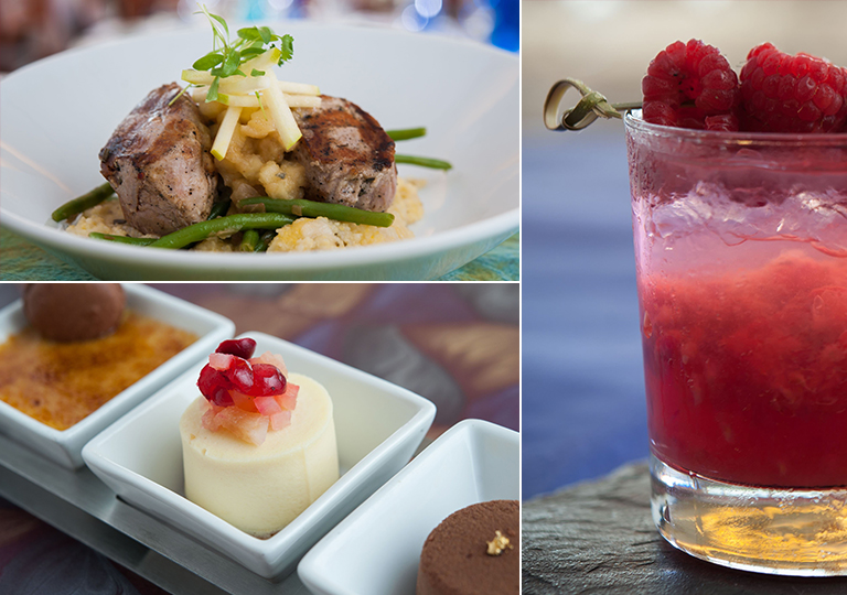 Cocktails and food from restaurant