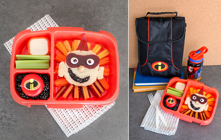 Incredibles lunchbox with themed food