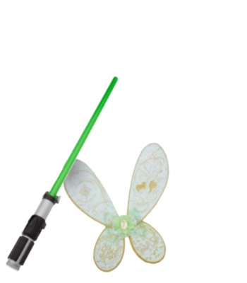 green light saber toy and light up fairy wings