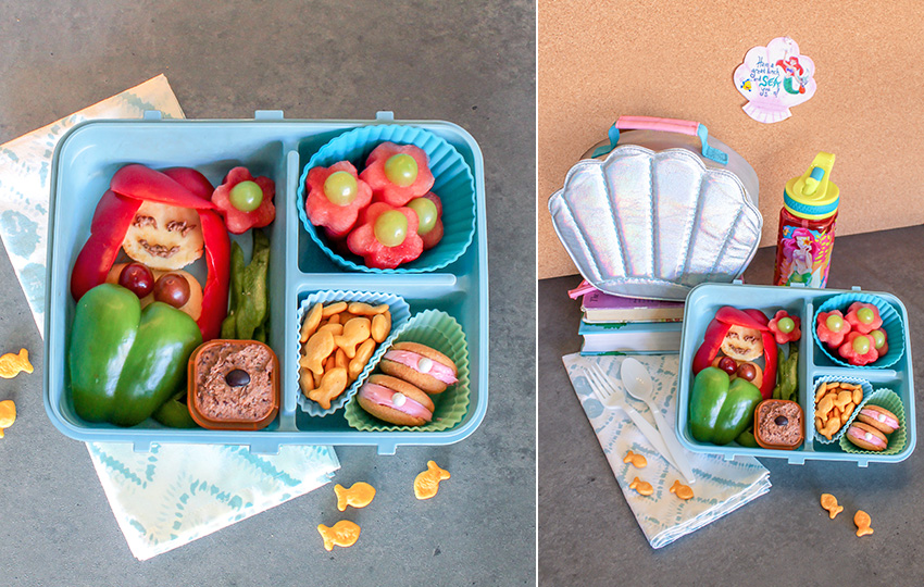 The Little Mermaid lunchbox with themed food