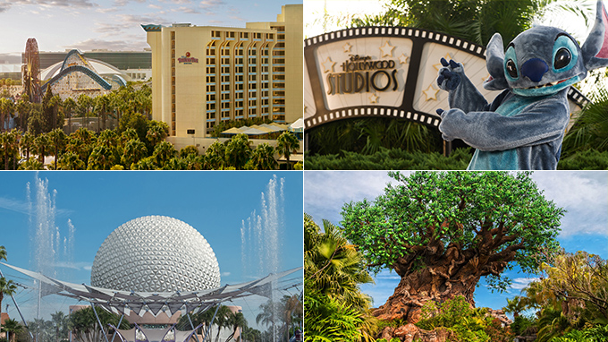 Disney California Adventure®, Disney's Hollywood Studios®, Epcot®, Disney's Animal Kingdom®