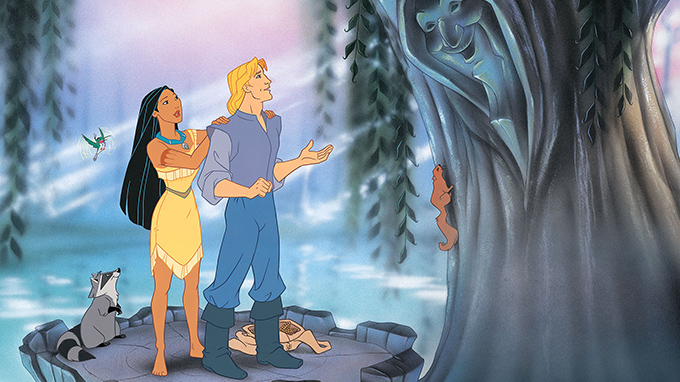 Pocahontas and John Smith at the willow tree