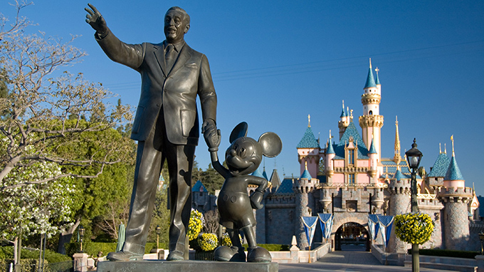 Walt Disney and Micky statue at Disneyland in California