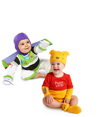 Baby costumes buzz lightyear and winnie the pooh