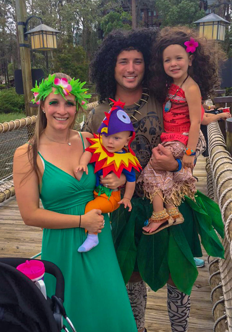 Kinsey and family at Mickey's Not So Scary Halloween Party