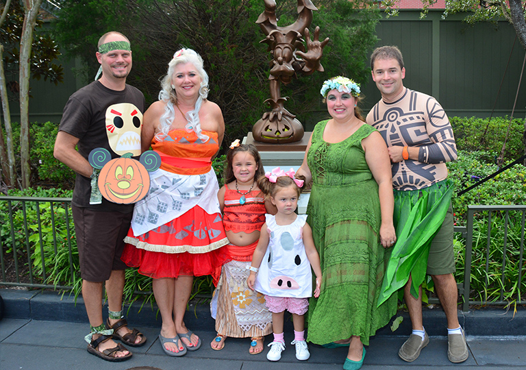 Sandy and family at Mickey's Not So Scary Halloween Party