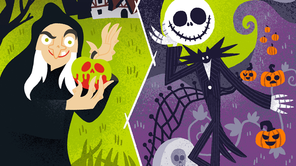 Snow White Witch and Jack Skelington