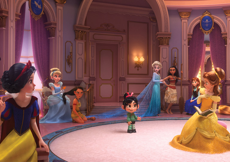 Vanellope Inside the internet with Disney Princesses