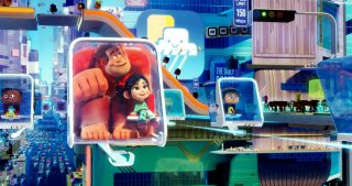 Ralph and Vanellope traveling inside the internet