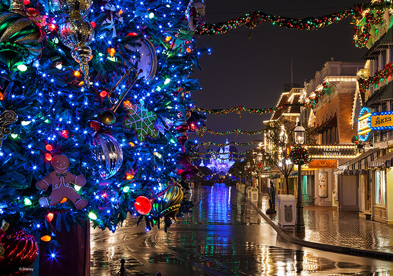 Disney park garland on main street USA