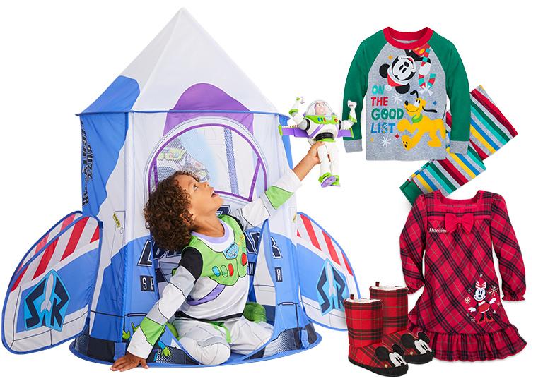Buzz lightyear tent and Disney pajamas