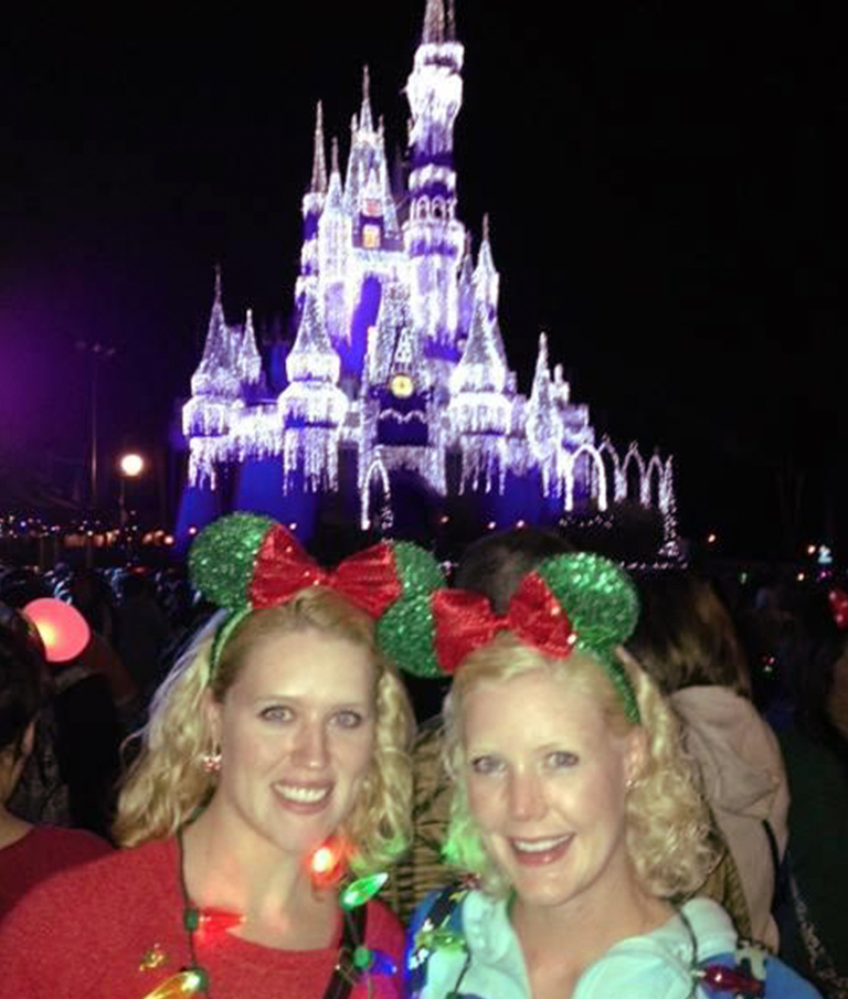 Mother Daughter in front of Disney castle