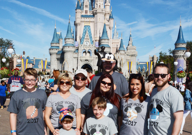 Family vacation in front of Disney castle