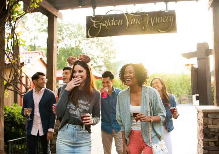 Friends at Disneyland enjoying wine country