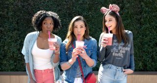 3 girls posing at Disney California adventure land
