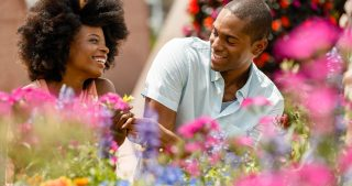 Couple enjoying Disney Flower and Garden Festival