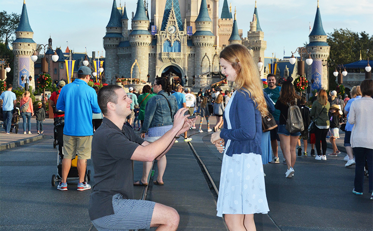 Disney marriage proposal in front of the castle