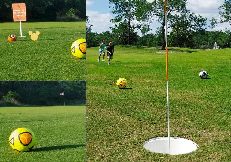 Kids playing foot golf at Walt Disney World Resort