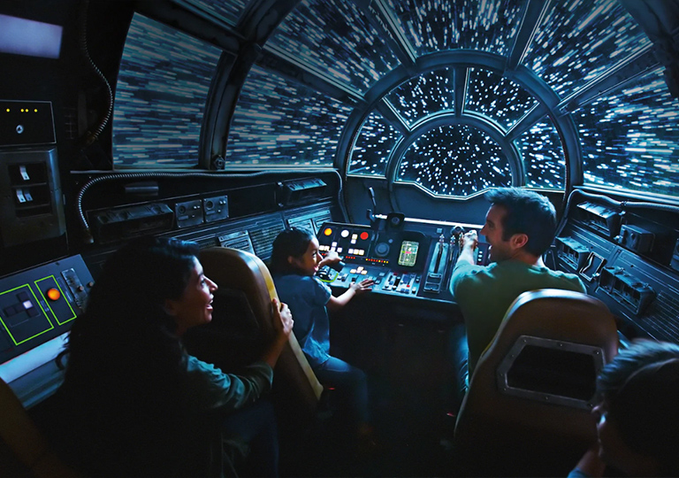 Guests riding the Millennium Falcon at Star Wars Galaxy's Edge
