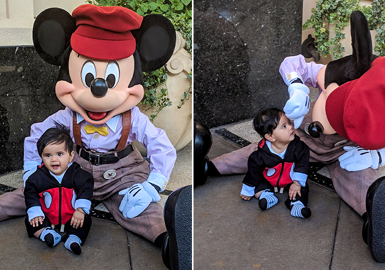 Kid meeting Mickey for the first time