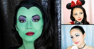 Maleficent, Minnie Mouse and Cinderella Makeups
