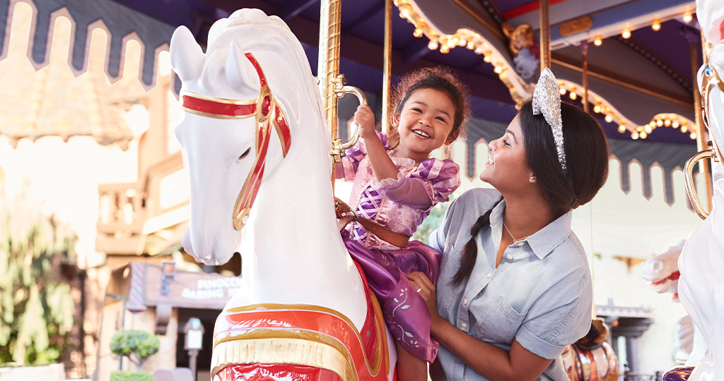 Girl on the carousel with mom
