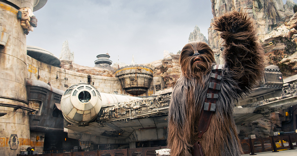 Chewy in front of the millennial falcon