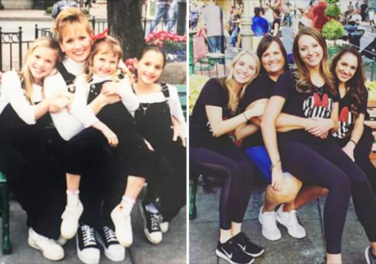 Family at Disney then and now