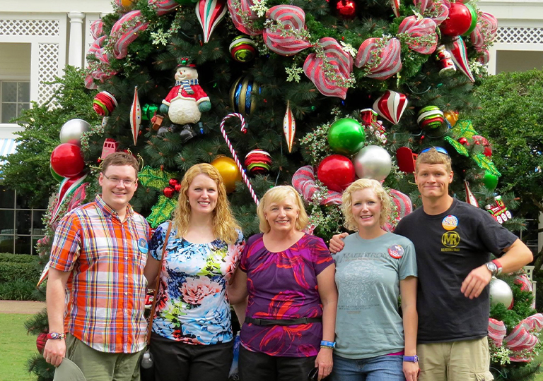 Family at Disney at Christmas