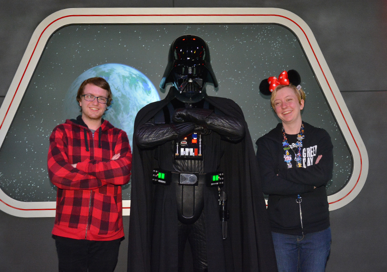 posing with Darth Vader