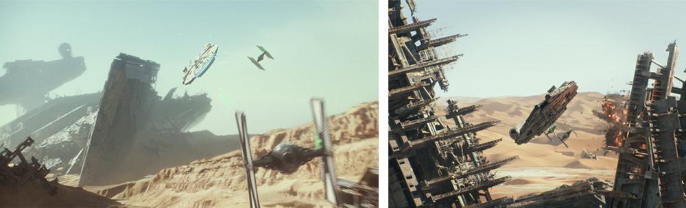 Millennium Falcon out running Tie-Fighters on the desert planet Jakku