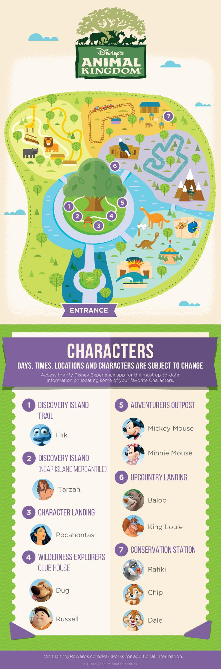 Disney Animal Kingdom Character Experience Map