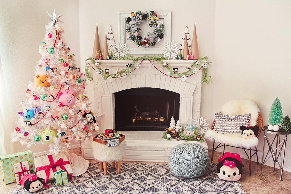 Disney Decorated Fireplace and Tree