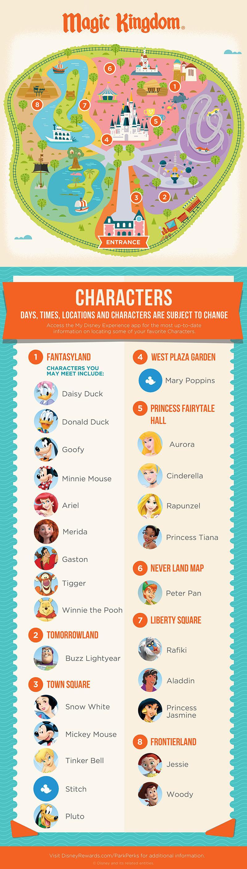 Disney Magic Kingdom Character Experience Map
