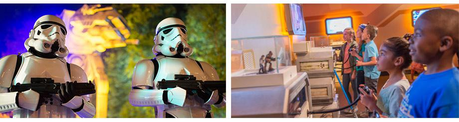 FROM LEFT: Stormtroopers outside of Star Tours, Kids playing in Star Wars Launch Bay